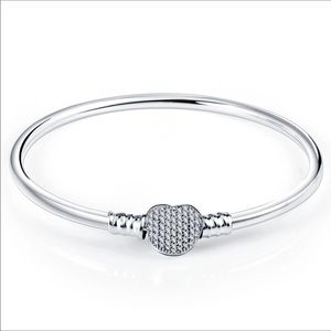 Sterling Silver Love Heart Crystal Charm Bangle